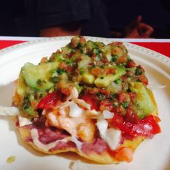 La Sazon shrimp tostada
